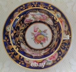 Antique Coalport Hand Painted Pink Floral English Tea Cup & Saucer Set. C1830