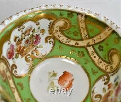 Antique Coalport T. Goode Teacup and Saucer Green Gold Pink Floral c. 1900