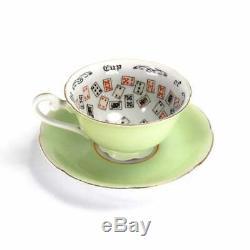 Antique Cup of Knowledge Fortune Telling Teacup Tea Leaf 1930 Japan Jadite Green