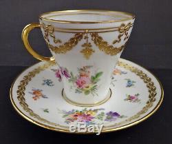 Antique Donath Dresden Tea Cup & Saucer Meissen Style