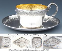 Antique French Sterling Silver Coffee or Tea Cup & Saucer, Louis XV or Rococo