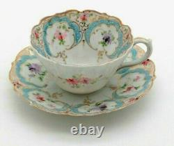 Antique Gold Gilt Hand Painted Floral Moriage Tea Cup & Saucer Set Unmarked