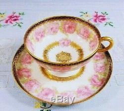 Antique Haviland France Limoges Mckinley Pink Drop Rose Cup Saucer Set