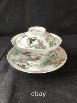 Antique Japanese Hirado eggshell tea cup and saucer with lid 1870-90 handpainte