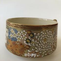 Antique Japanese Satsuma Mille Fleur Thousand Flowers Tea Cup Saucer Gilt Shozan