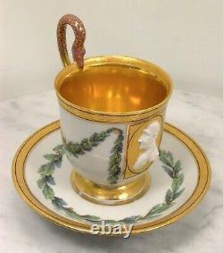 Antique KPM Berlin Cameo Green Gold Portrait Cup Saucer
