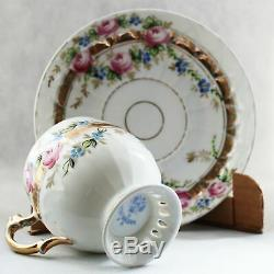 Antique Kuznetsov Imperial Russian Hand Painted Porcelain Tea Cup and Saucer
