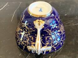 Antique Meissen Dresden Late 1800's Topographical Cobalt Blue Cup