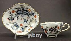 Antique Meissen Tea Cup & Saucer, Quatrefoil Shape, Imari