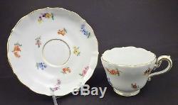 Antique Meissen Tea Cup & Saucer, Unique Shape, Hand Painted