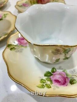 Antique Royal Rudolstadt Prussia Set of 6 Floral Tea Cups & Saucers Sets