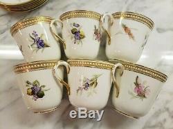Antique Royal Worcester Bone China 6 Tea Cups 6 Saucers Botanical White Beads