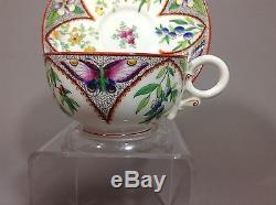 Antique Royal Worcester Enamel Butterflies&wild Flowers Tea Cup&saucer 6pc 1878