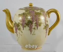 Antique Satsuma Wisteria Tea Pot, Creamer & Sugar and 2 Cups & Saucers Signed