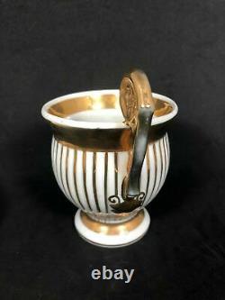 Antique Sevres Vincennes Gold. & White Striped Tea Cup And Saucer Set 13L