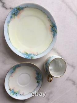 Antique Silesia Dessert Plates Teacups Saucers Hermann Ohme porcelain 1900-1920