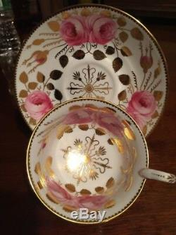 Antique Spode Copelands Cabbage Roses Gold Tea Cup & Saucer 3886