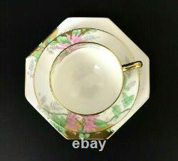 Antique Star Paragon Art Deco Pink Poinsettia Tea Cup Saucer Trio Set Gold Trim
