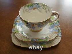 Antique Star Paragon Blue Poinsettia Art Deco Tea Cup Saucer Trio Hand Painted