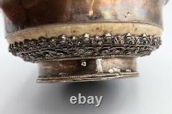 Antique Tibetan or Mongolian Silver Mounted Burl Yak Milk Tea Bowl Cup 5