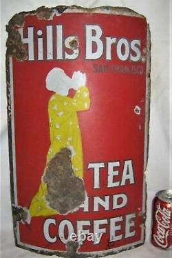 Antique USA Hills Bros San Francisco Porcelain Coffee Tea Cup Cafe Shop Art Sign