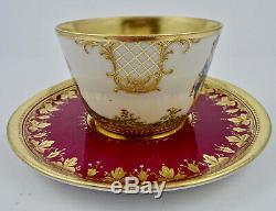 Antique Wehsener Dresden Scenic Tea Cup & Saucer