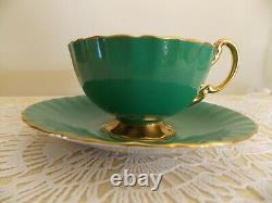 Anysley bone china England tea cup & saucer cabbage rose signed J. A. Bailey