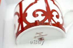 Authentic HERMES Red Balcon du Guadalquivir Tea Cup & Saucer 2 Sets New In Box