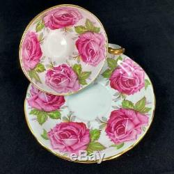 Aynsley Bailey-type Cabbage Roses Brocade Turquoise Cup & Saucer C1486 LOW-PING