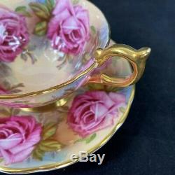 Aynsley Bailey-type Large Pink Cabbage Roses Brocade Cup & Saucer 1026