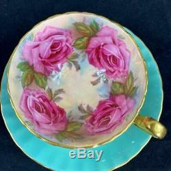 Aynsley Bailey-type Large Pink Four 4 Cabbage Roses Green Cup & Saucer C1031