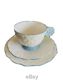 Aynsley Blue and White Flower Handle Bone China Footed Tea Cup Saucers, Paragon