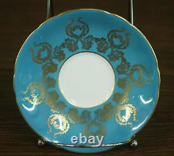 Aynsley Bone China Tea Cup & Saucer Signed Hand Painted Blue Floral #1543
