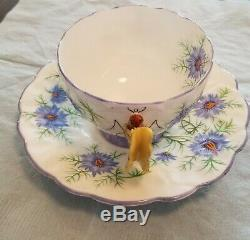 Aynsley Butterfly Handle Danity Purple Cornflower Tea Cup And Saucer