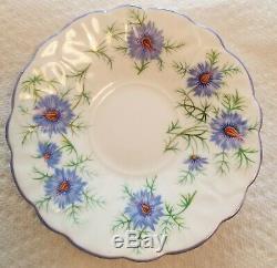 Aynsley Butterfly Handle Danity Purple Cornflower Tea Cup And Saucer