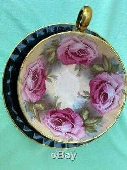 Aynsley C1031 Pink Cabbage Roses & Black Bone China Tea Cup & Saucer