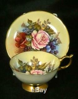 Aynsley Cabbage Rose Bone China Cup & Saucer Sgn JA Bailey