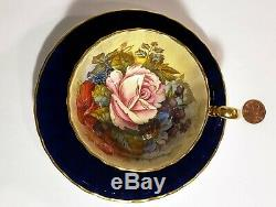 Aynsley Cabbage Rose & Flowers China Tea Cup & Saucer Signed JA Bailey