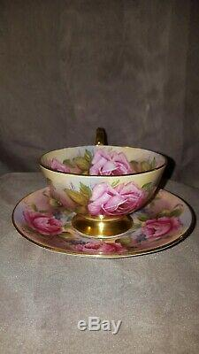 Aynsley Cabbage Roses Footed Teacup and Saucer Set C1026 Rare Bone China