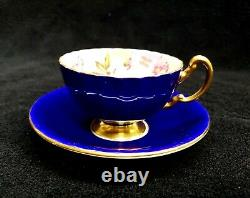 Aynsley Cobalt Blue Cup & Saucer Cabbage Roses Floral Ribbed Teacup