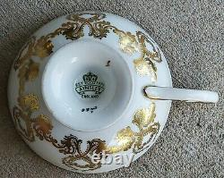 Aynsley Dark Red Cabbage Roses Gold Pedestal Signed J A Bailey Teacup and Saucer