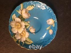 Aynsley Dogwood Flower Tuiquoise Tea Cup And Saucer Set