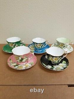 Aynsley Dogwood Flowers Pattern 5 TeaCups and Saucers