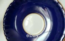 Aynsley, England, Cobalt Blue Teacup & Saucer, 4 Pink Cabbage Roses Inside, Gold