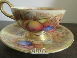 Aynsley England Tea Cup And Saucer Orchard Fruit Signed D. Jones N. Brunt