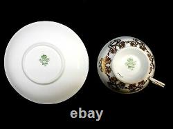 Aynsley England Tea Cup And Saucer Roses Gold Pastel Burgundy Signed J A Bailey