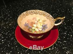 Aynsley Floral Clematis Cup and Saucer