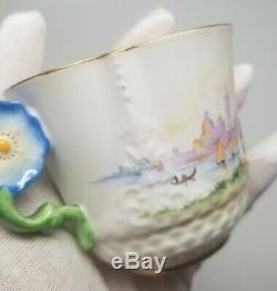 Aynsley Flower Handle VENETIAN LADY China Tea Cup Saucer Plate TRIO England RARE