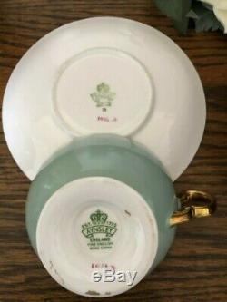 Aynsley Green Cup & Saucer Cabbage Roses Floral Ribbed Teacup EUC