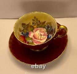 Aynsley JA Bailey signed deep red cup and saucer